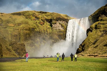 natural landmark: Skogafoss, beautiful and powerful waterfall. This place is a famous natural landmark of Southern Iceland