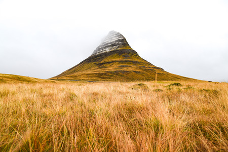 natural landmark: Kirkjufell mountain, natural landmark and tourist attraction in West Iceland