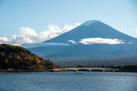 symbolic: Beautiful view of Mount Fuji and field at Lake Kawaguchi in autumn, This mountain is an famous symbolic of Japan