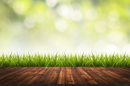 enviro: Fresh spring grass with green nature blurred background and wooden floor, use for environmental concept