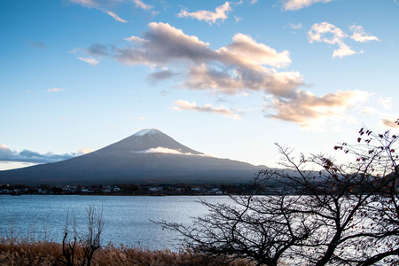 natural landmark: Beautiful view of Mount Fuji at Lake Kawaguchi in autumn, This mountain is a famous natural landmark of Japan Stock Photo