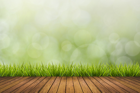 enviro: Fresh spring grass with green nature blurred background and wooden floor, use for natural spring concept Stock Photo