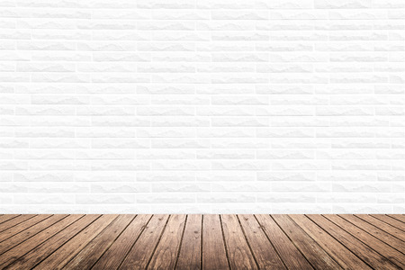 wood structure: Old interior room with white brick wall texture and brown grunge wooden floor pattern, use for background, backdrop or design element
