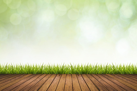enviro: Fresh spring grass with green nature blurred background and wooden floor, use for backdrop or display product in natural spring concept