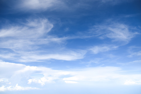 wispy: Blue sky and white clouds background with day light of summer Stock Photo