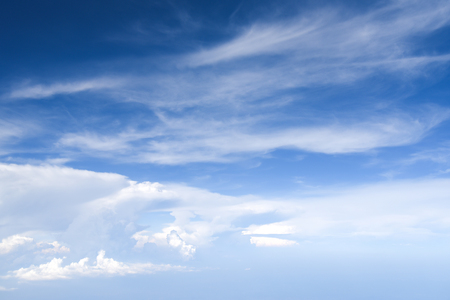 Blue sky and white clouds background with day light of summer Stock Photo