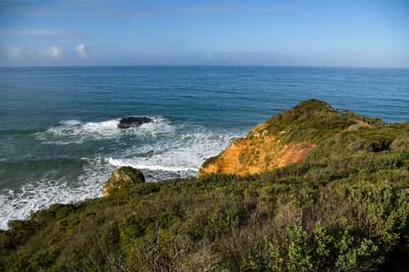 Beautiful coastal landscape and blue ocean, view from Split Point Lighthouse at Aireys Inlet, a small town on the Great Ocean Road, Victoria, Australia Stock Photo