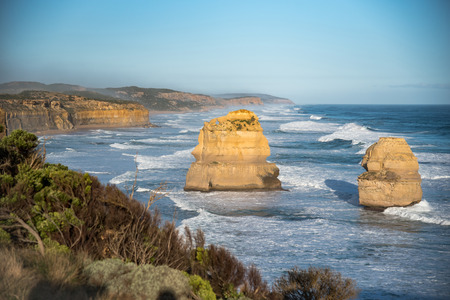 natural landmark: The Twelve Apostles near Great Ocean Road, natural landmark and tourist attraction of Victoria, Australia Stock Photo