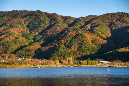 kawaguchi: beautiful mountain landscape with clear blue sky in autumn season of Kawaguchiko (Kawaguchi lake), Yamanashi prefecture, Japan
