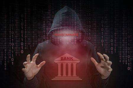 hijack: Hacker using Petrwrap or Petya ransomware for hijack computer system of bank around the world. ransomware cyber attack and internet security concepts.