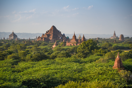 Beautiful landscape of ancient pagoda and temple in Bagan archaeological site, famous destination in Mandalay Region, Myanmar (Burma) and Southeast Asia