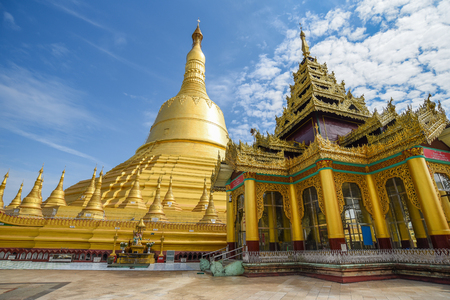 Shwemawdaw (Shwe Maw Daw) Pagoda or Mutao Pagoda, the tallest pagoda and one of the most five holy places in Myanmar (Burma), famous destination in Bago
