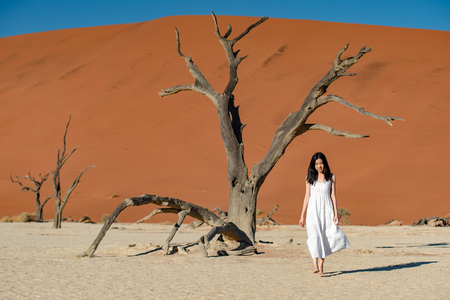 Young attractive Asian girl wearing white dress walking in deadvlei (Sossusvlei), famous natural landmark in Namib desert of Namibia, Africa