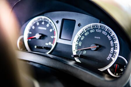 Modern black car dashboard. Speed display control panel. Auto interior design for automobile industry.