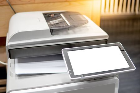 White blank screen on photocopier machine. electronic office supplies for copy, print and scan Stock Photo