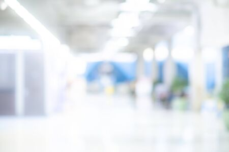 Abstract blur airport terminal. Blurred hall interior in transportation building. Defocused effect background or backdrop for travel industry concept.