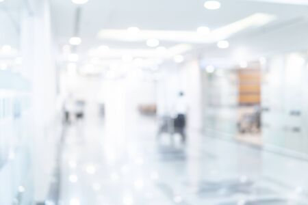 Abstract blur luxury hospital corridor. Blur clinic interior background with defocused effect. Healthcare and medical concept Foto de archivo