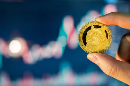 Hand holding gold Dogecoin with blurred candlestick chart in the background. DOGE is the most popular meme coin in cryptocurrency world.