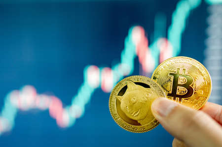 Hand holding gold Bitcoin and Dogecoin with blurred candlestick chart in the background. Cryptocurrency and Decentralized finance concept
