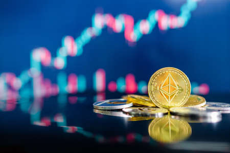 Ethereum (ETH) and other crypto coins with blurred candlestick chart. Ethereum is a decentralized, open-source blockchain with smart contract. Cryptocurrency and decentralized finance concept Zdjęcie Seryjne