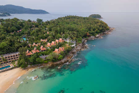 Aerial view of cape between Karon and Kata Beach in Phuket. Beautiful scenery beach of Andaman sea. Famous tourist destination in Thailand