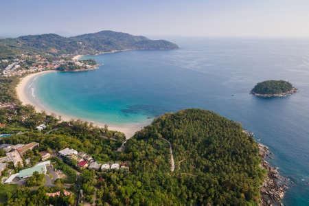 Aerial view of Kata Beach in Phuket. Beautiful scenery beach of Andaman sea. Famous tourist destination in Thailand