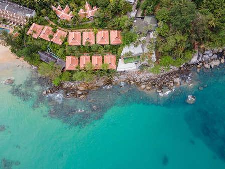 Aerial view of resort at Karon Beach in Phuket. Beautiful coastal landscape of Andaman sea. Famous tourist destination in Thailand