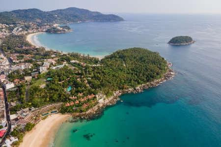 Aerial view of Karon and Kata Beach in Phuket. Beautiful scenery beach of Andaman sea. Famous tourist destination in Thailand Zdjęcie Seryjne