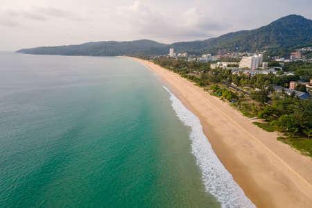 Aerial view of Karon Beach in Phuket. Beautiful scenery beach of Andaman sea. Famous tourist destination in Thailand