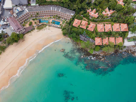 Aerial view of resort at Karon Beach in Phuket. Beautiful scenery beach of Andaman sea. Famous tourist destination in Thailand