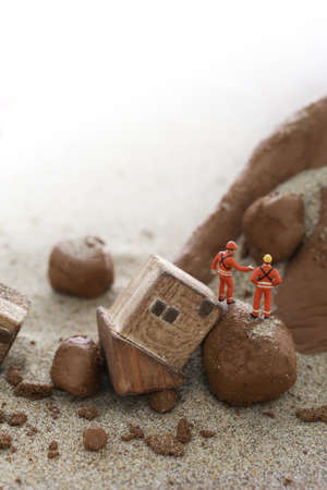 Diorama model of natural disasters and landslides