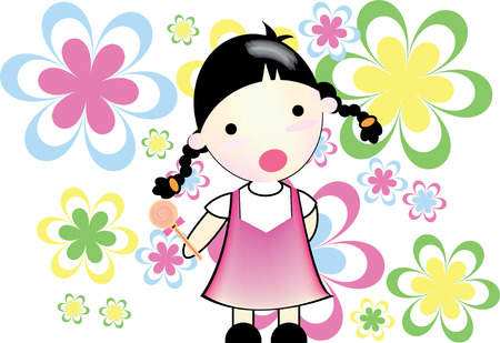 stunning: Little girl is stunning, in smiley in hand and flower background  Illustration