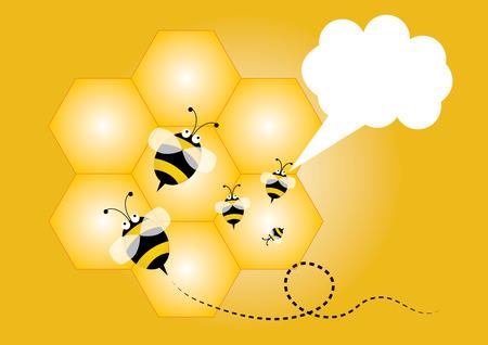 illus: Bee and blank speech, Yellow background