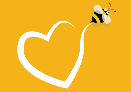 Bee with Heart, Yellow background