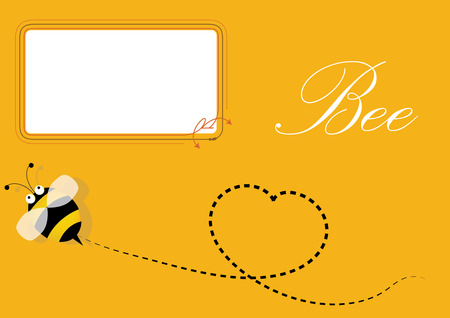 illus: Bee and blank frame, Yellow background