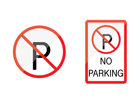 Illustration of no parking sign on white background. Vector