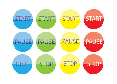 Separated rounded color Start Stop Play Pause Buttons. Vector
