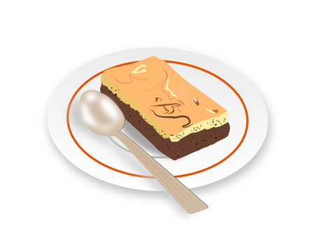brownie: Vector - Chocolate cheese brownie on dish. Illustration
