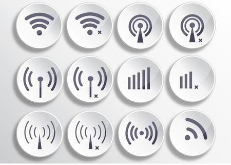 Set of different wireless 3d buttons and wifi icons Vector