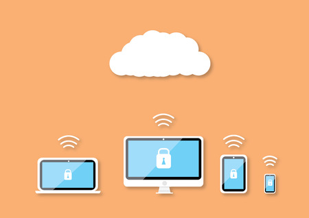 security technology: Security technology on cloud blackground
