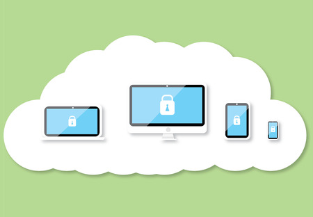 Security technology on cloud blackground Vector