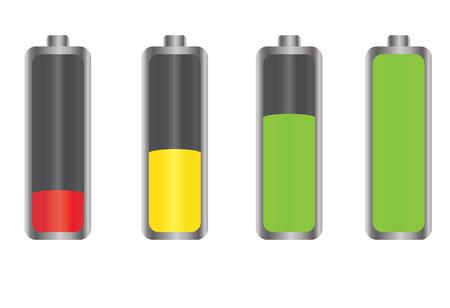 Battery energy level indicator icons, isolated on white background.  Vector