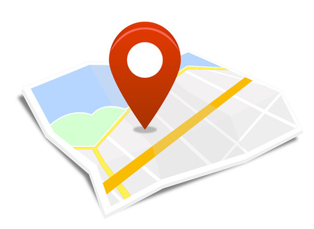 Map with red pin Vector