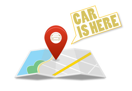 Map with pin and car sign on isolated background photo