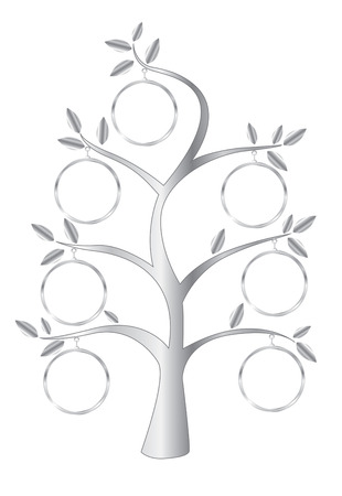 Family Tree stylized with Silver colour. Vector