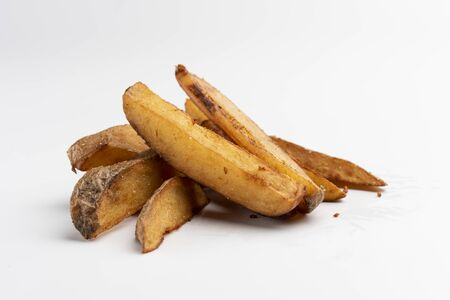 rustic homemade french fries on white background portion os fries potato menu isolated