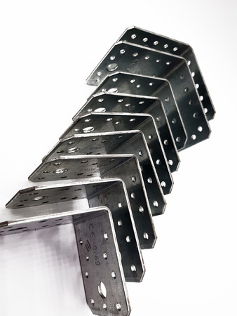 Angle of metal on white background Stock Photo