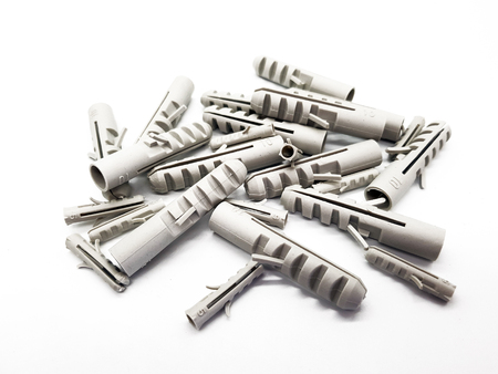 Wall anchors on white background Stock Photo