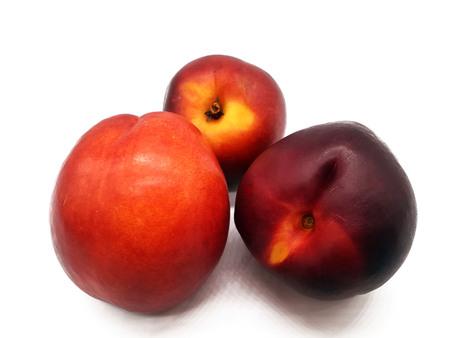 Fresh juicy nectarines isolated on white background 版權商用圖片