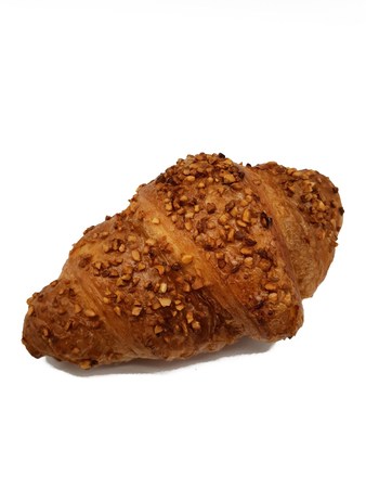 Lekeres croissant with nuts isolated on white background 免版税图像